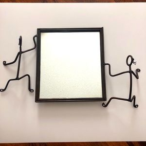 Wrought iron frame Mirror w/ Matched Candleholder